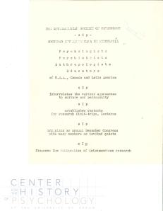 Announcement of the 1st Conference of the Sociedad Interamericana de Psicología.