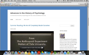 Advances in the History of Psychology
