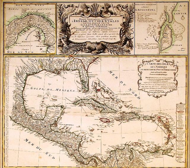 Mapa del Mar Caribe, por Heirs & D'Anville, c.1740.