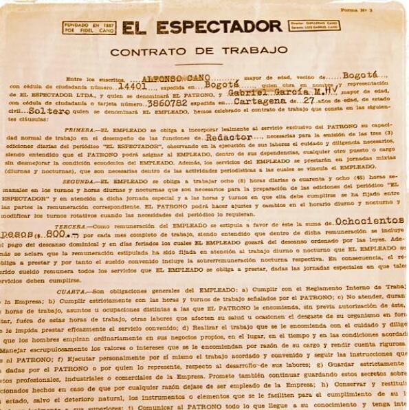 Contrato de trabajo suscrito entre el entonces joven periodista y escritor Gabriel García Márquez y el diario bogotano El Espectador.