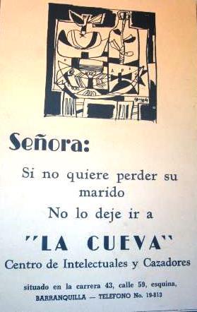 Cartel de La Cueva, diseñado por Alejandro Obregón.
