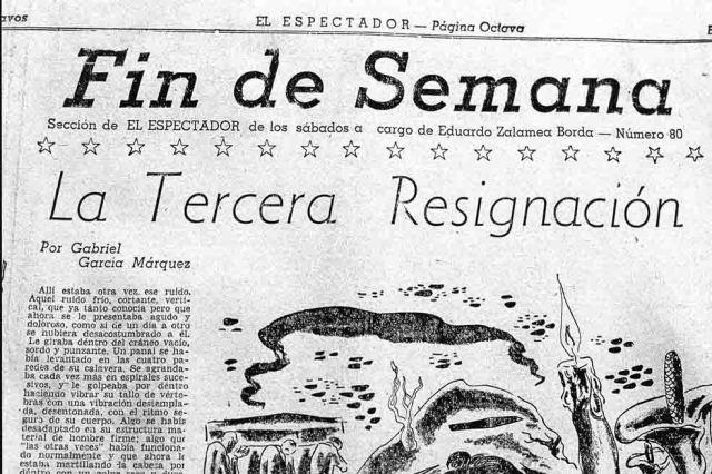 Página del diario El Espectador, donde apareció publicado el primer cuento de GGM en 1947.