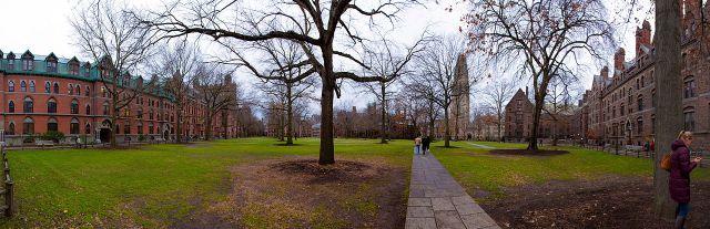 Vista del campus de la Universidad de Yale en New Haven, Connecticut.