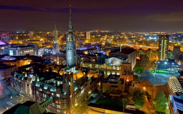 Coventry University at night
